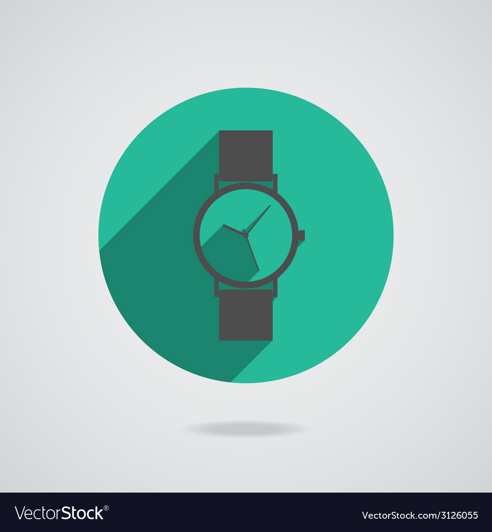 Flat long shadow icon wristwatch vector | Price: 1 Credit (USD $1)