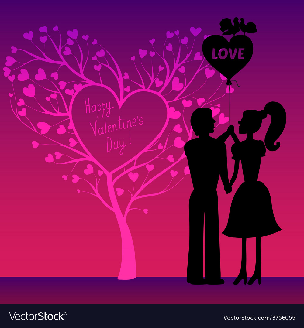Greating valentines card with couple vector | Price: 1 Credit (USD $1)