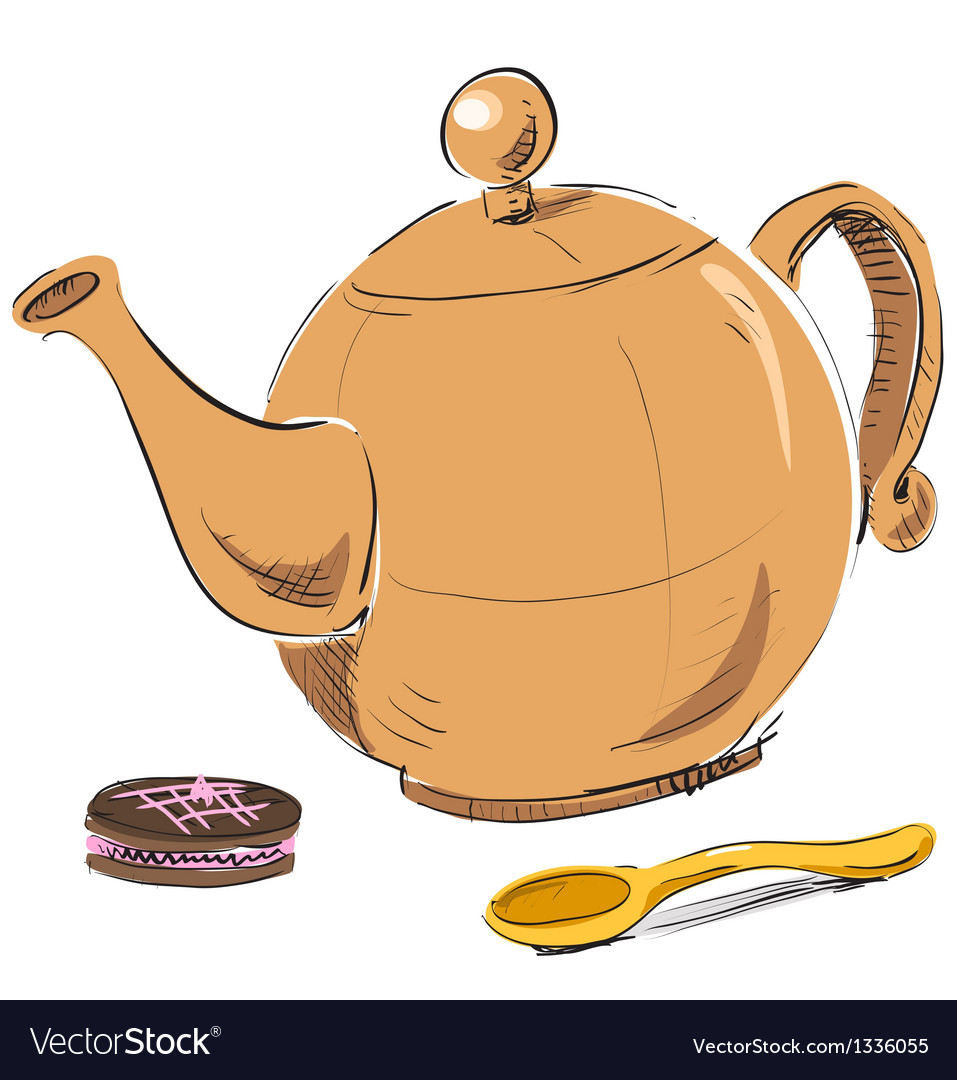 Kettle spoon and biscuit vector | Price: 1 Credit (USD $1)
