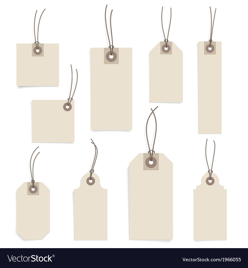 Paper tag set on white background vector