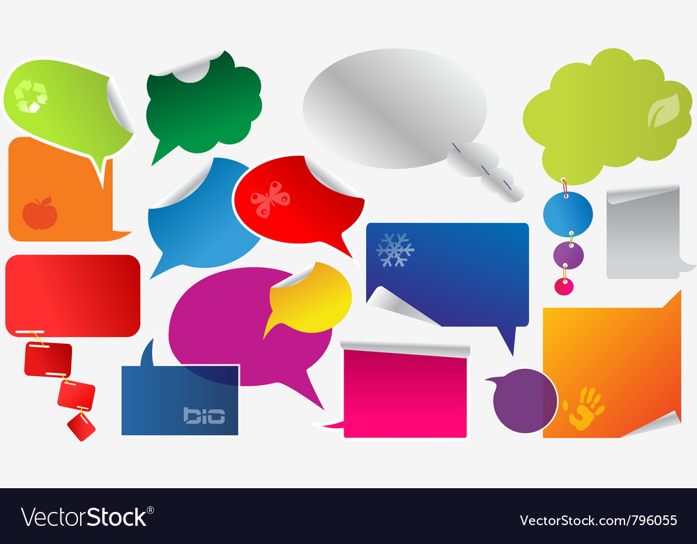 Set of colorful dialog boxes and stickers vector | Price: 1 Credit (USD $1)