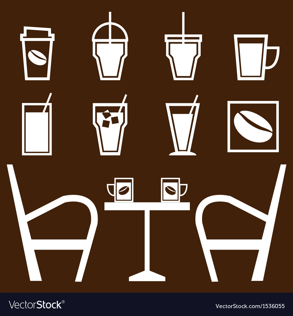 Set of drinks in coffee shop vector | Price: 1 Credit (USD $1)