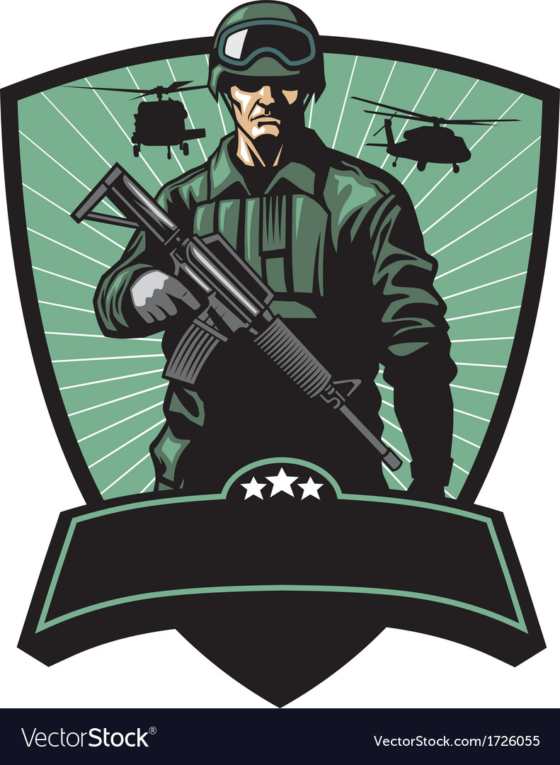 Soldier with rifle vector | Price: 3 Credit (USD $3)