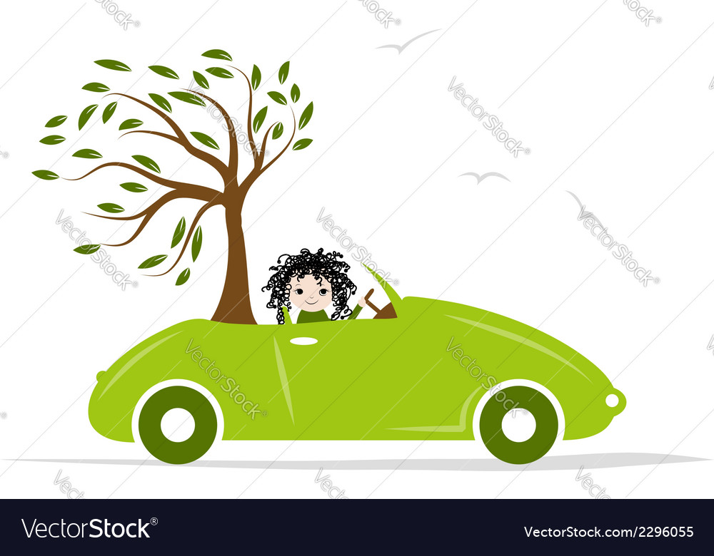 Woman carry tree by green car for your design vector | Price: 1 Credit (USD $1)