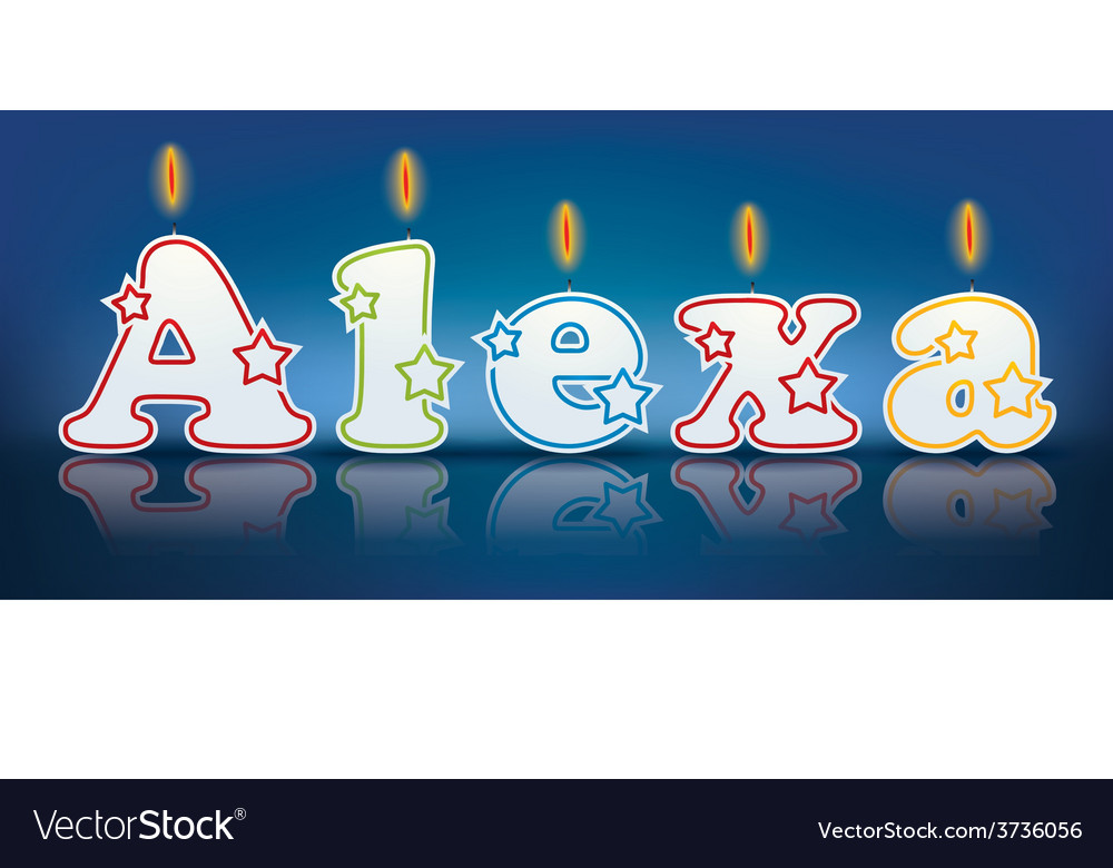 Alexa written with burning candles vector | Price: 1 Credit (USD $1)