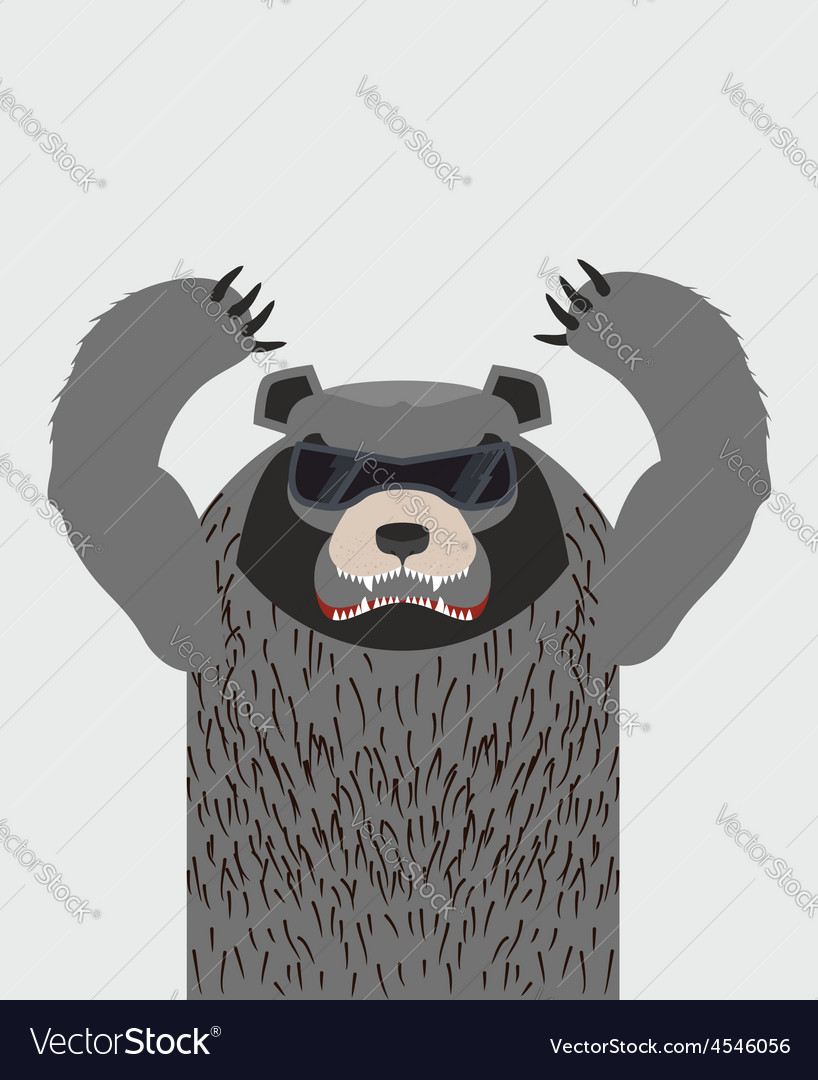 Angry grizzly bear with glasses vector | Price: 1 Credit (USD $1)