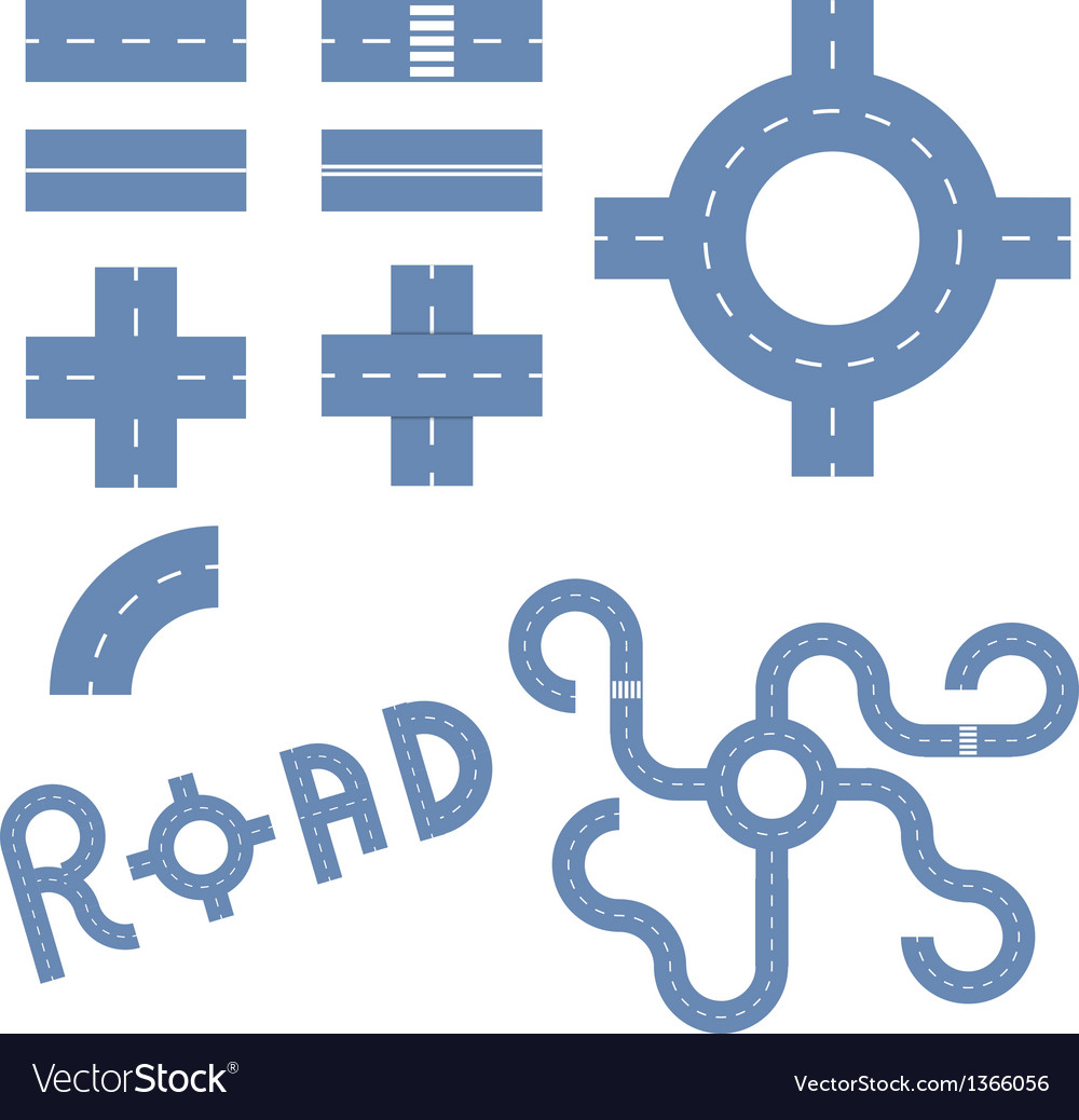 Elements of the road vector | Price: 1 Credit (USD $1)