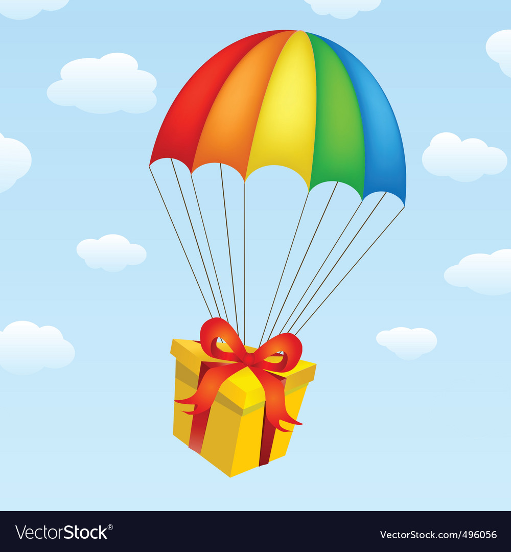 Gifts on parachutes vector | Price: 1 Credit (USD $1)