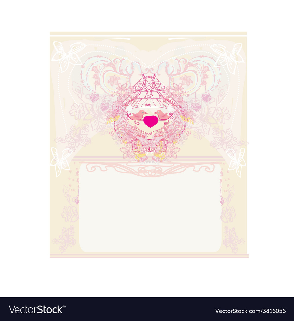 Greeting card with 2 sweet love birds - wedding vector | Price: 1 Credit (USD $1)