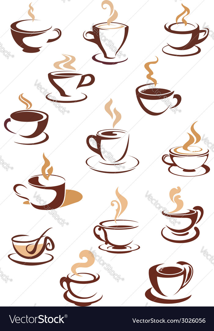Hot brown coffee icons vector | Price: 1 Credit (USD $1)