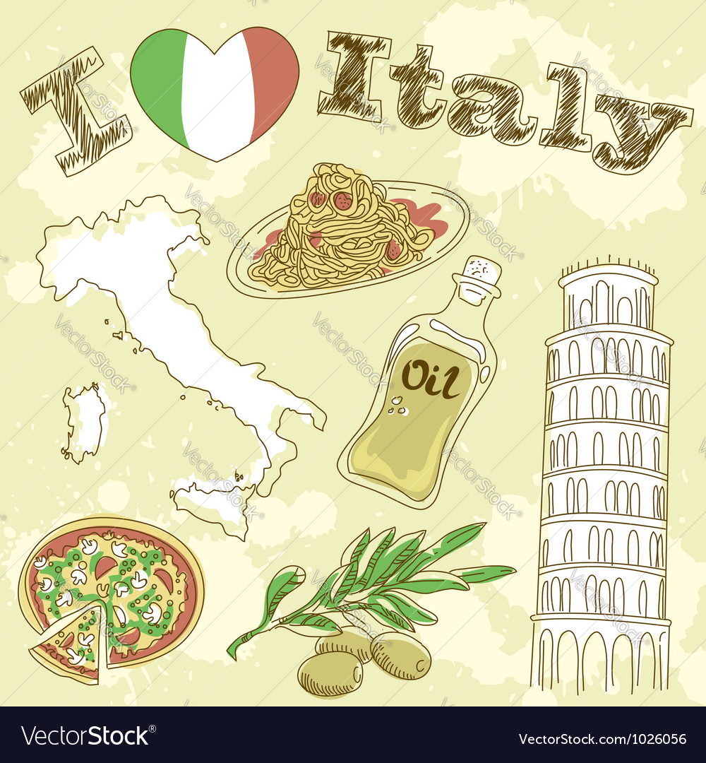 Italy travel grunge card vector | Price: 1 Credit (USD $1)