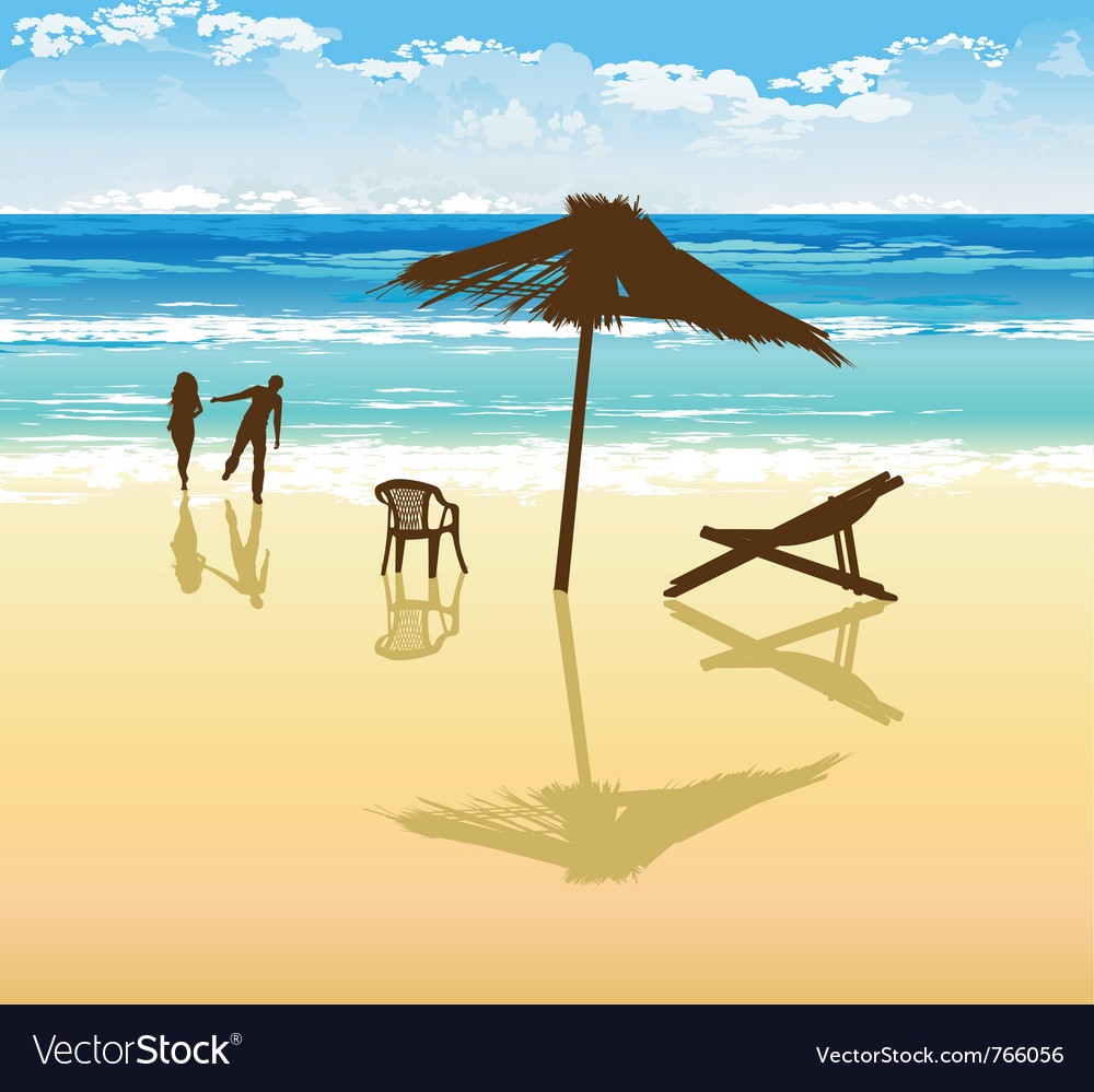 On the beach vector | Price: 1 Credit (USD $1)