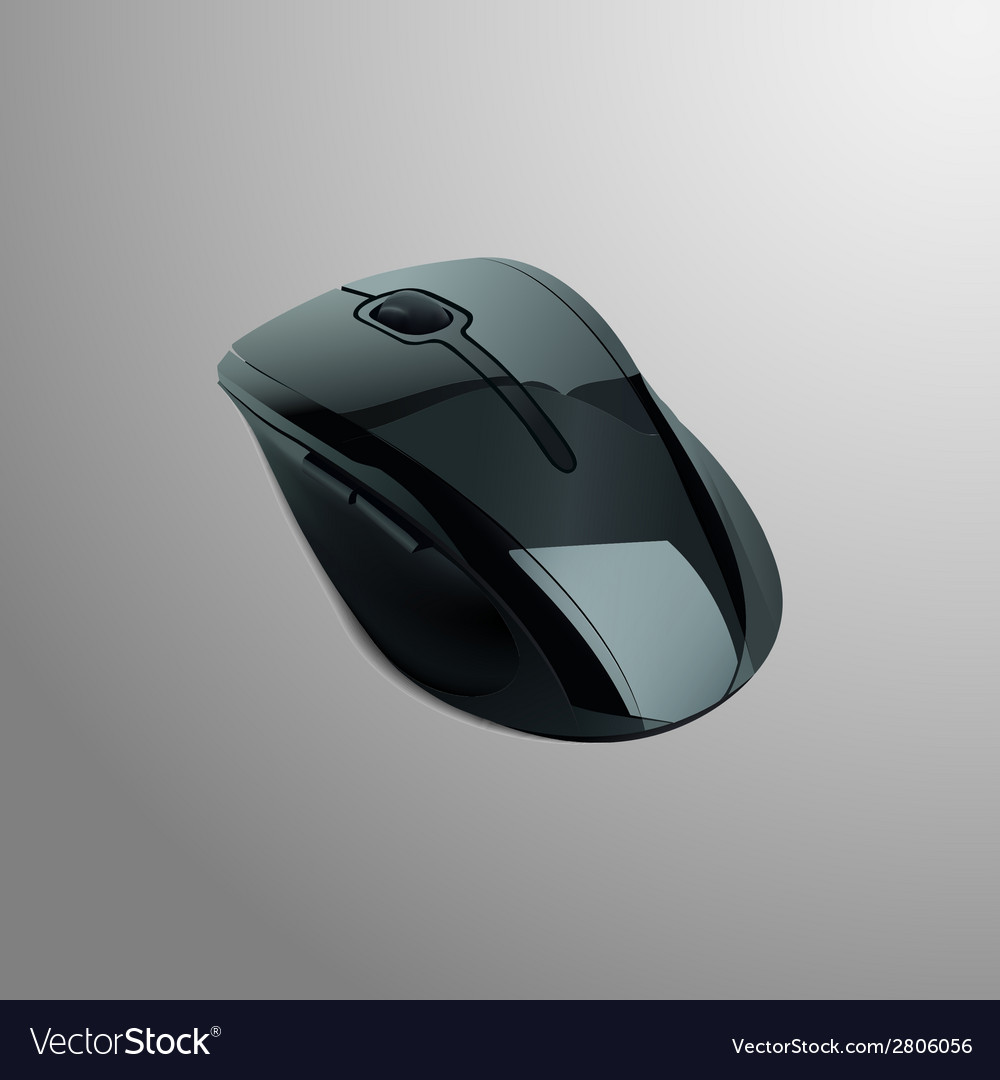 Realistic of a black computer mouse vector | Price: 1 Credit (USD $1)