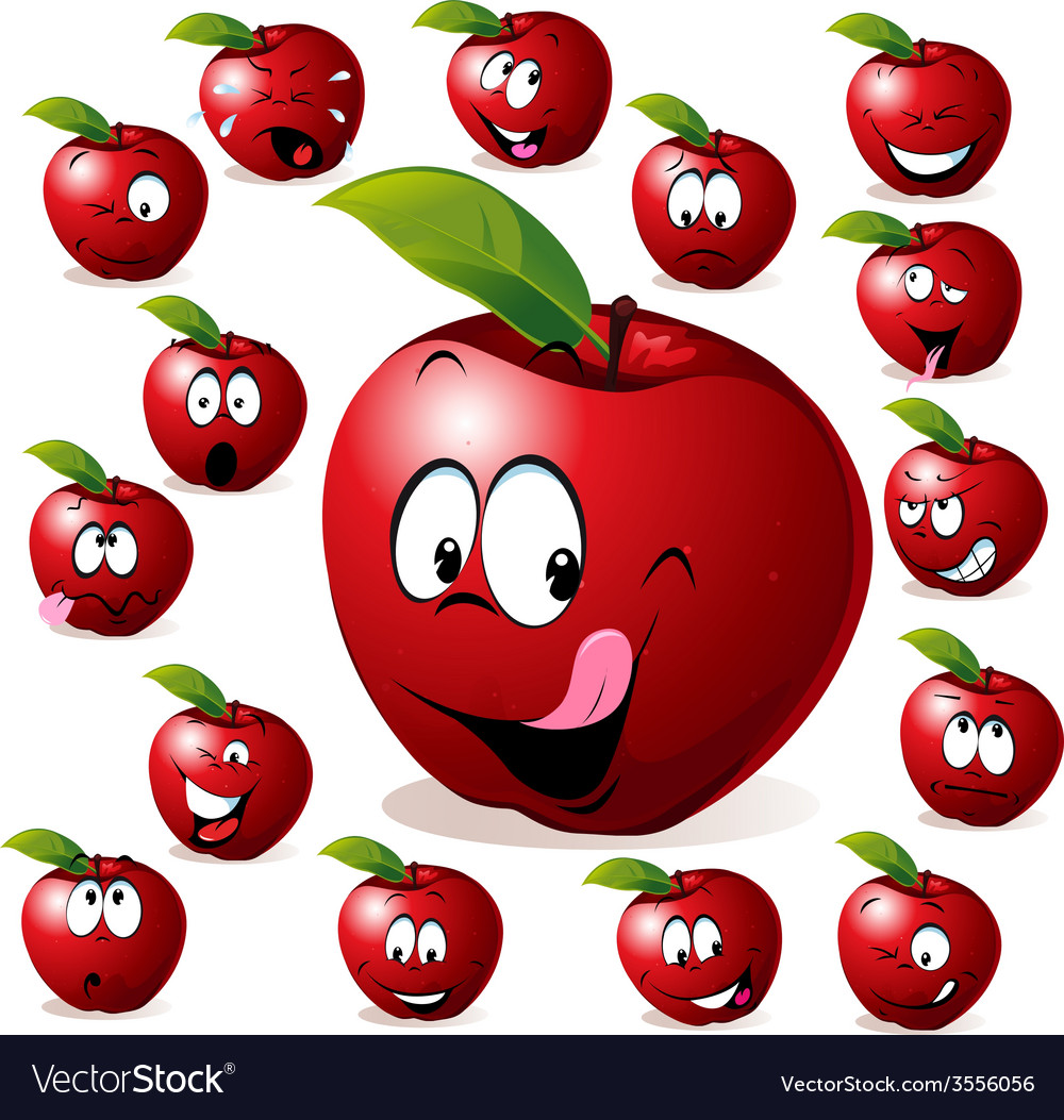 Red apple with many expressions vector | Price: 1 Credit (USD $1)