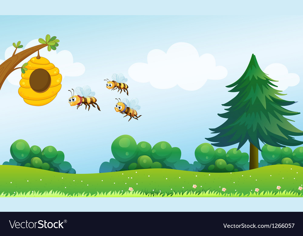 A beehive above the hill with three bees vector | Price: 1 Credit (USD $1)