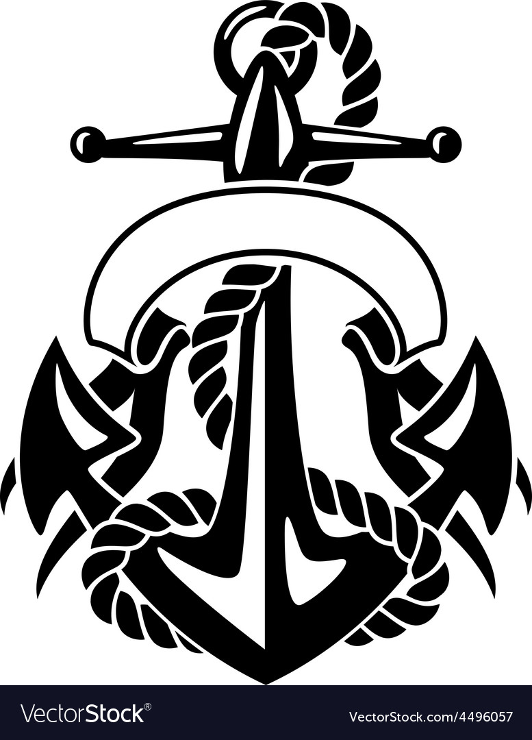 Anchor with rope and banner vector | Price: 1 Credit (USD $1)