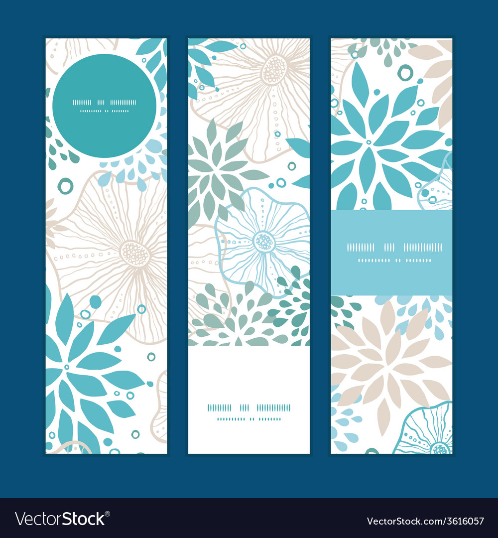 Blue and gray plants vertical banners set pattern vector | Price: 1 Credit (USD $1)