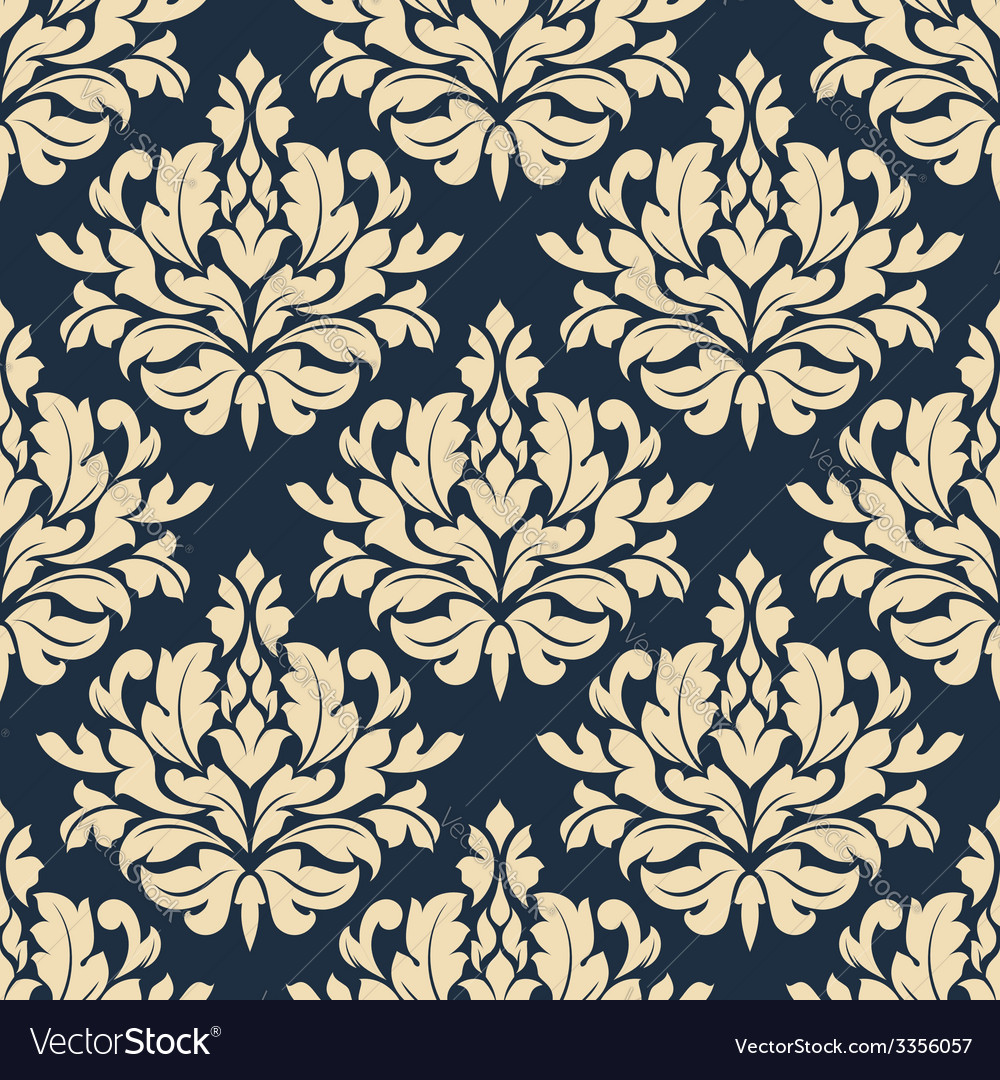 Close up seamless arabesque floral pattern vector | Price: 1 Credit (USD $1)