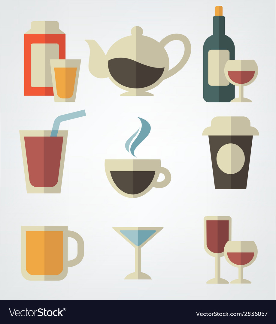 Drinks in flat style vector | Price: 1 Credit (USD $1)