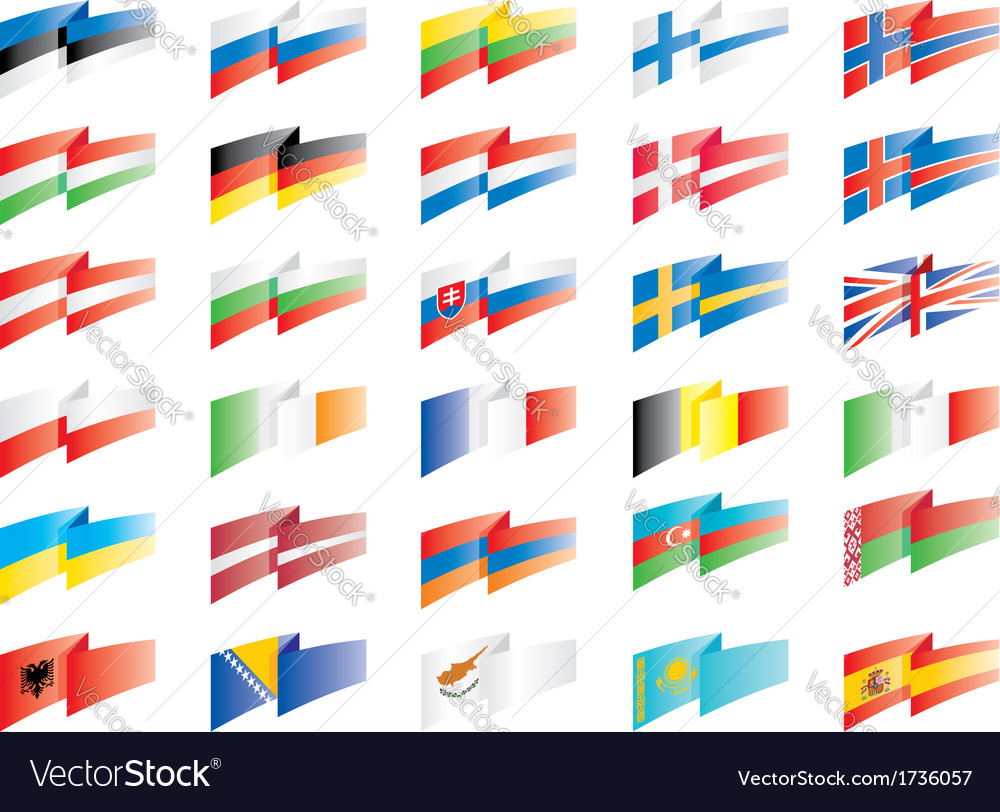 Flags set europe vector | Price: 1 Credit (USD $1)