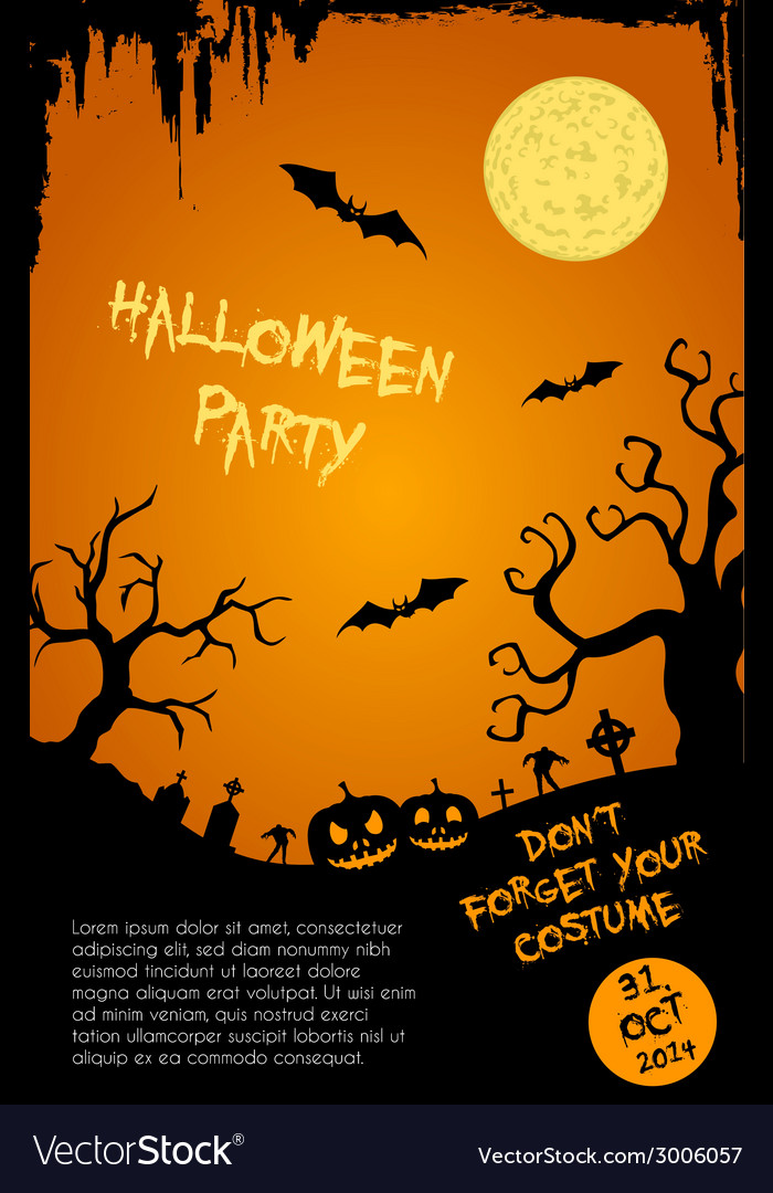 Halloween party flyer template - orange and black vector | Price: 1 Credit (USD $1)