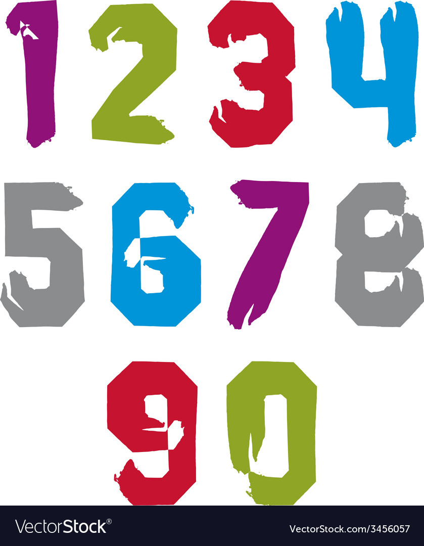 Modern watercolor brushed numbers set hand-drawn vector | Price: 1 Credit (USD $1)