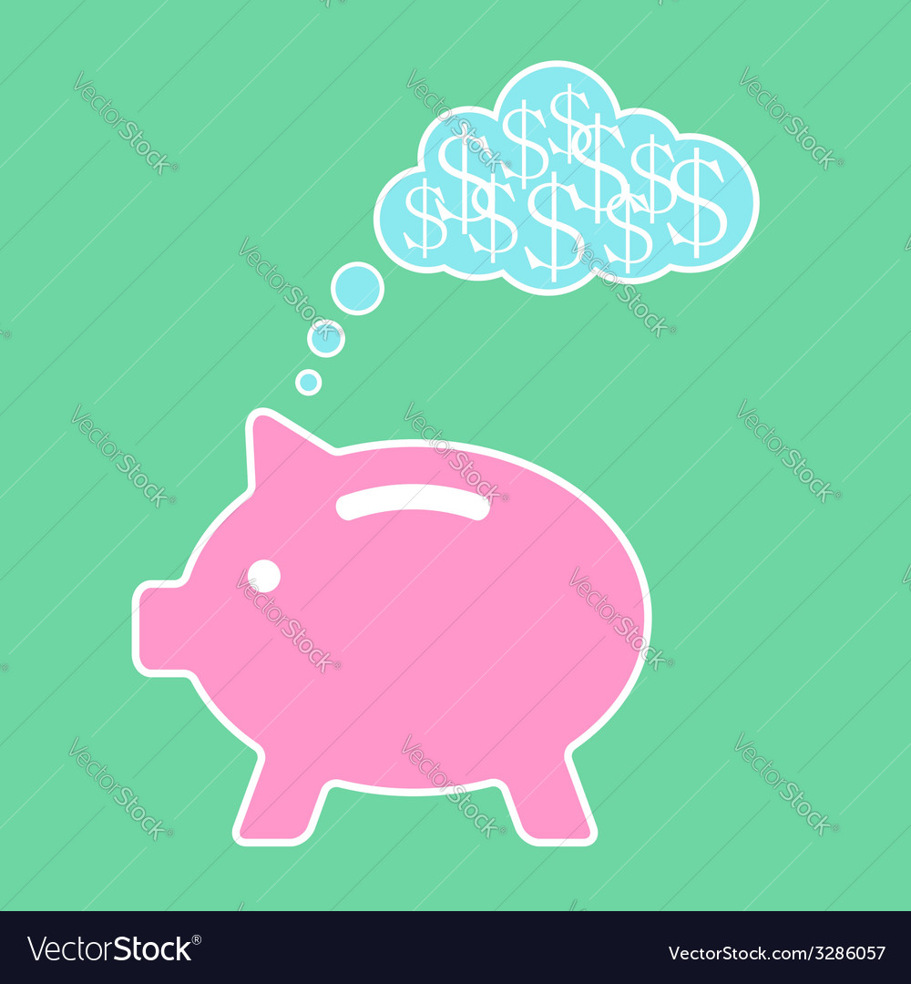 Piggy bank dreaming about money vector | Price: 1 Credit (USD $1)