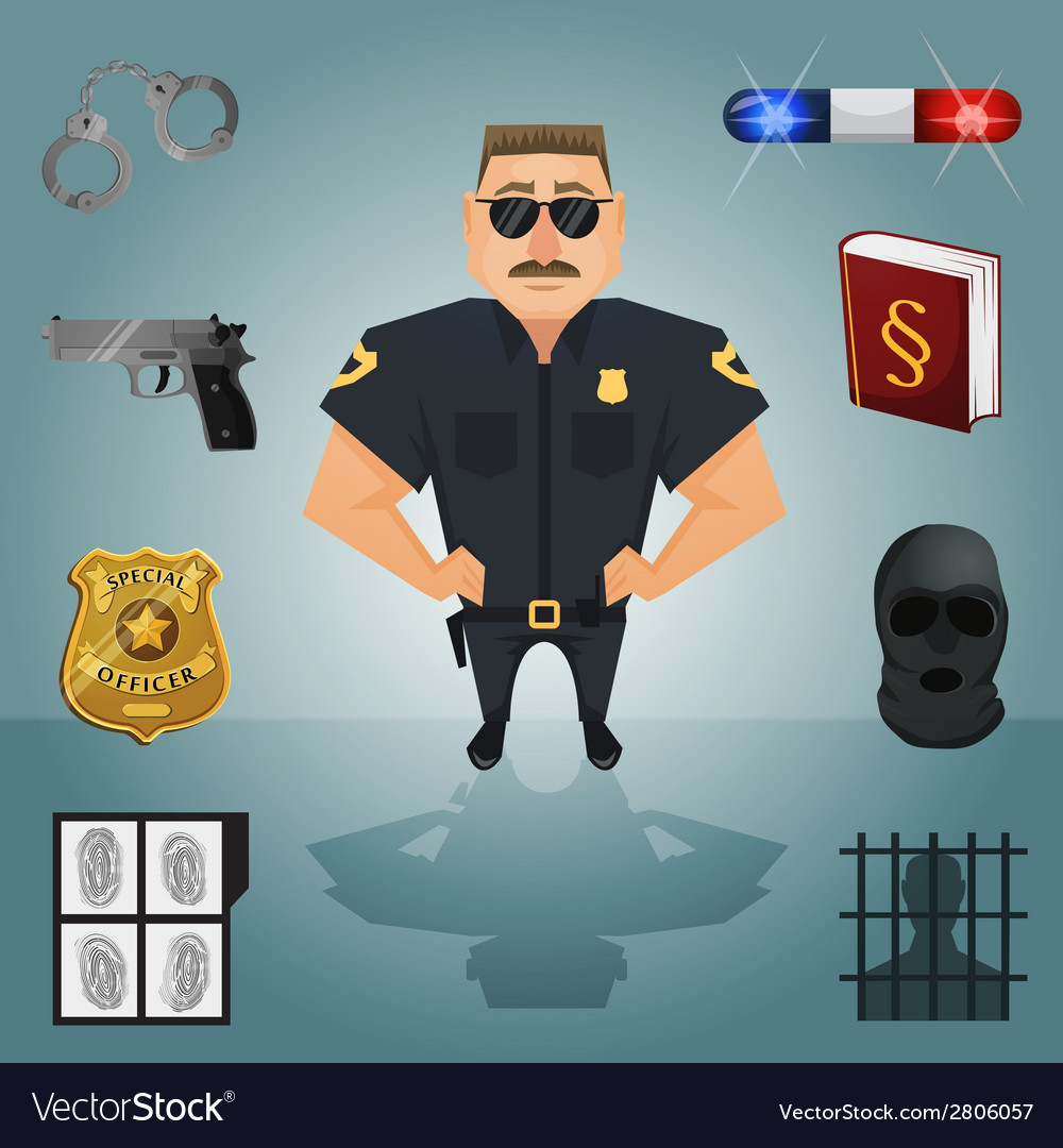Policeman character with icons vector | Price: 1 Credit (USD $1)