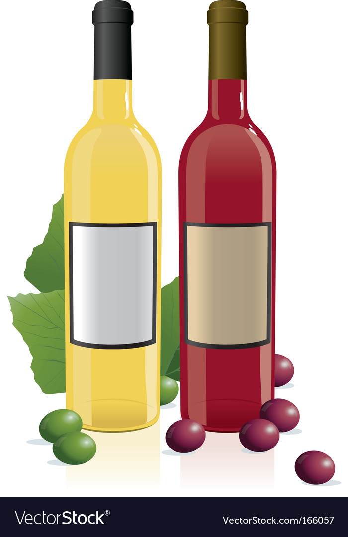 Red amp white wine bottles vector | Price: 1 Credit (USD $1)