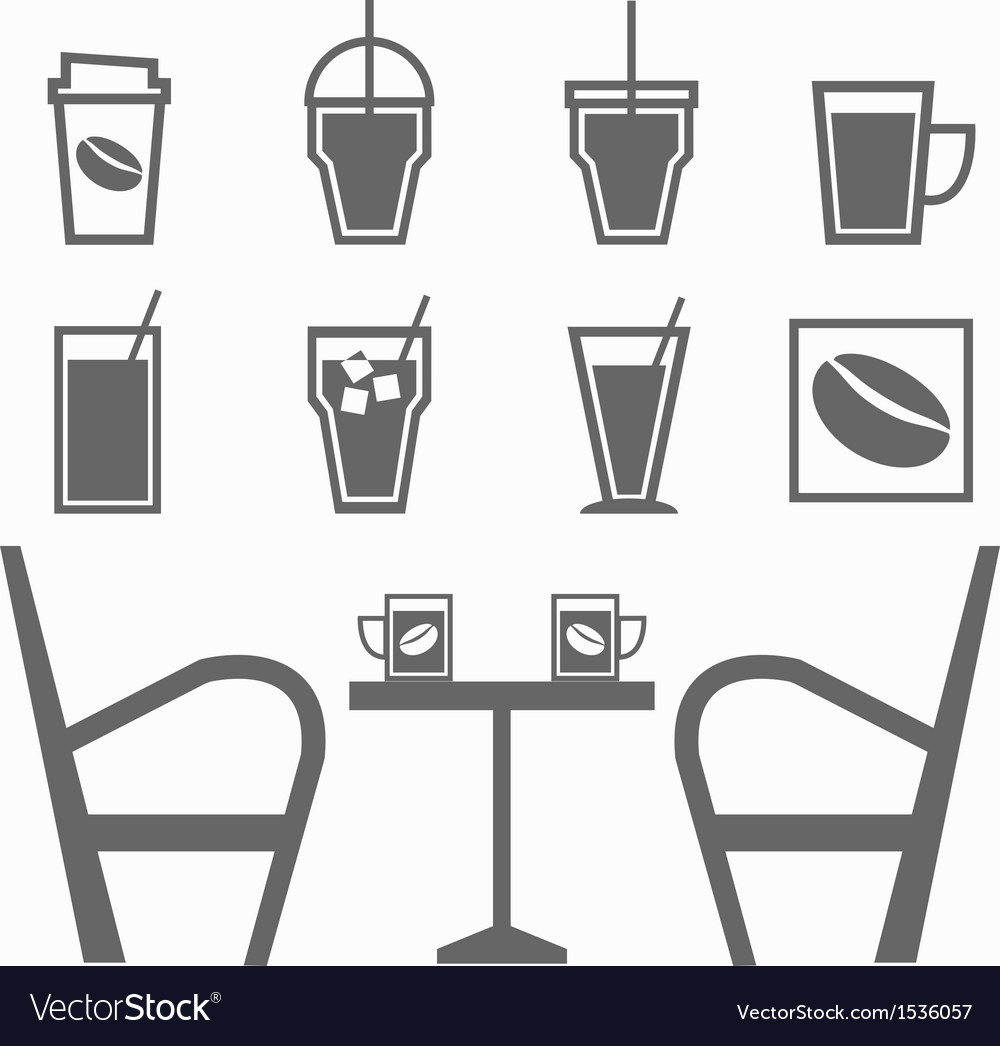 Set of drinks in coffee shop on white background vector | Price: 1 Credit (USD $1)