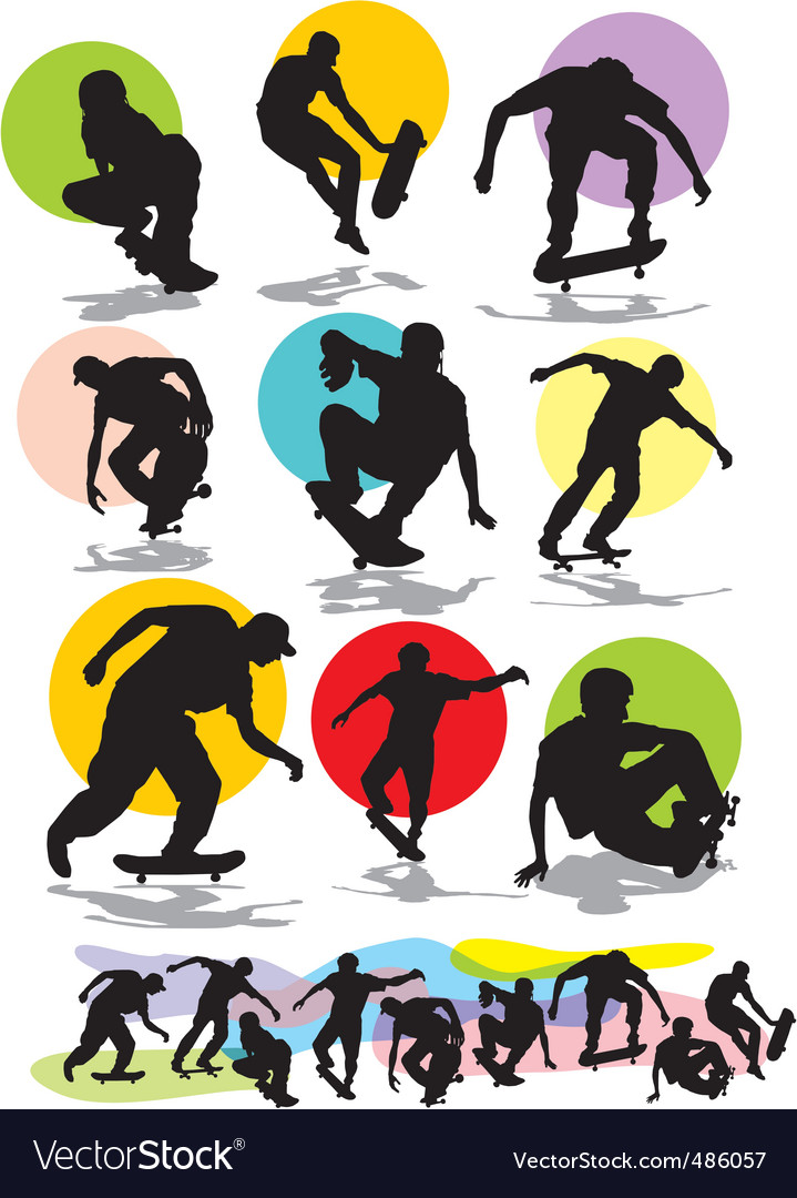 Set skaters silhouettes vector   Price: 1 Credit (USD $1)