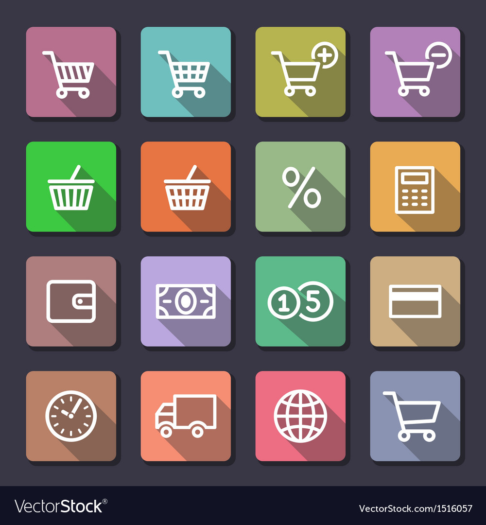 Shopping icons set flaticons series vector | Price: 1 Credit (USD $1)