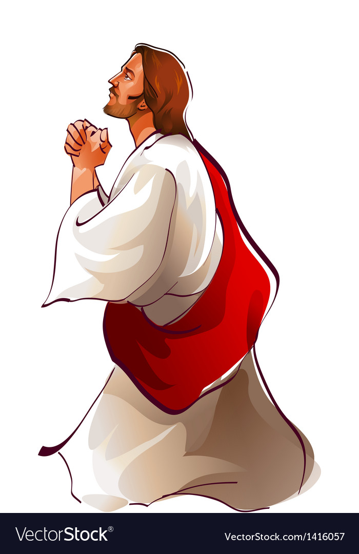 Side view of jesus christ praying vector | Price: 1 Credit (USD $1)