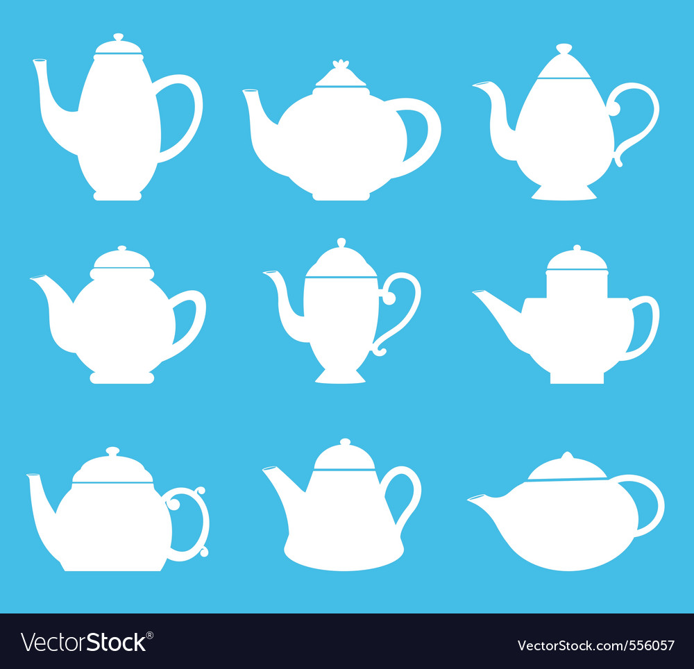 Tea pot silhouette vector | Price: 1 Credit (USD $1)