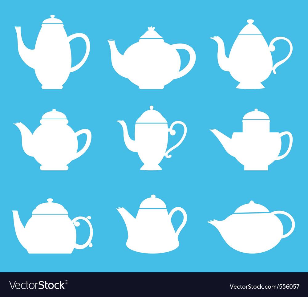 Tea pot silhouette vector | Price: 1 Credit (USD $1)