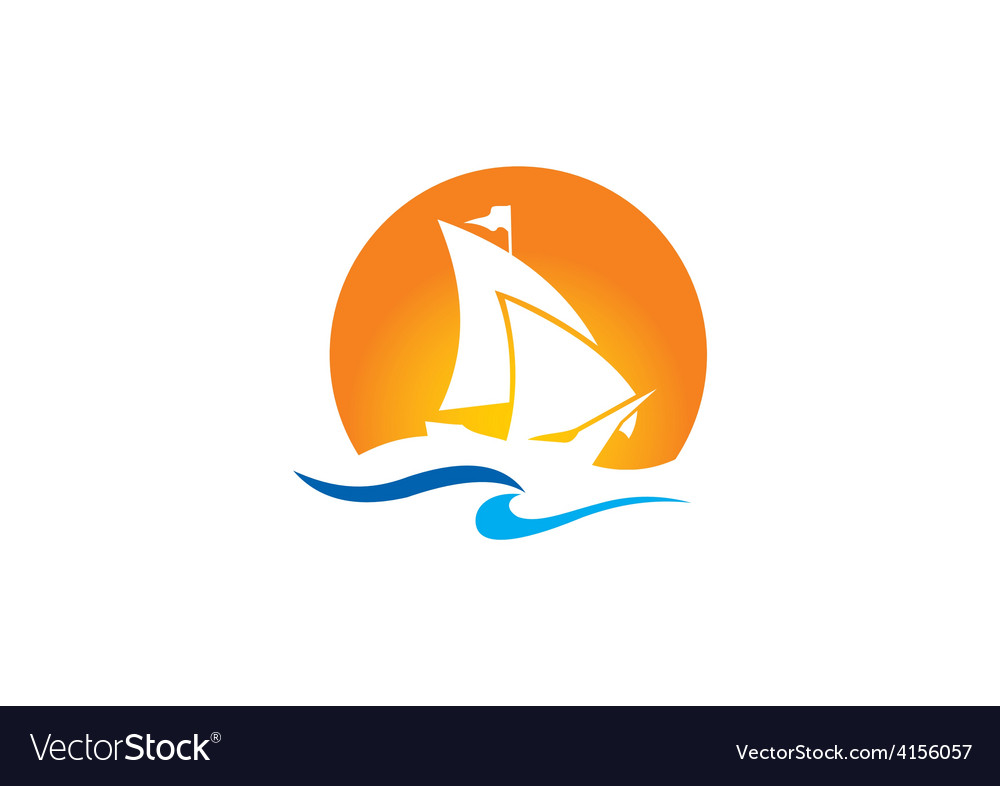 Yacht boat ocean logo vector | Price: 1 Credit (USD $1)