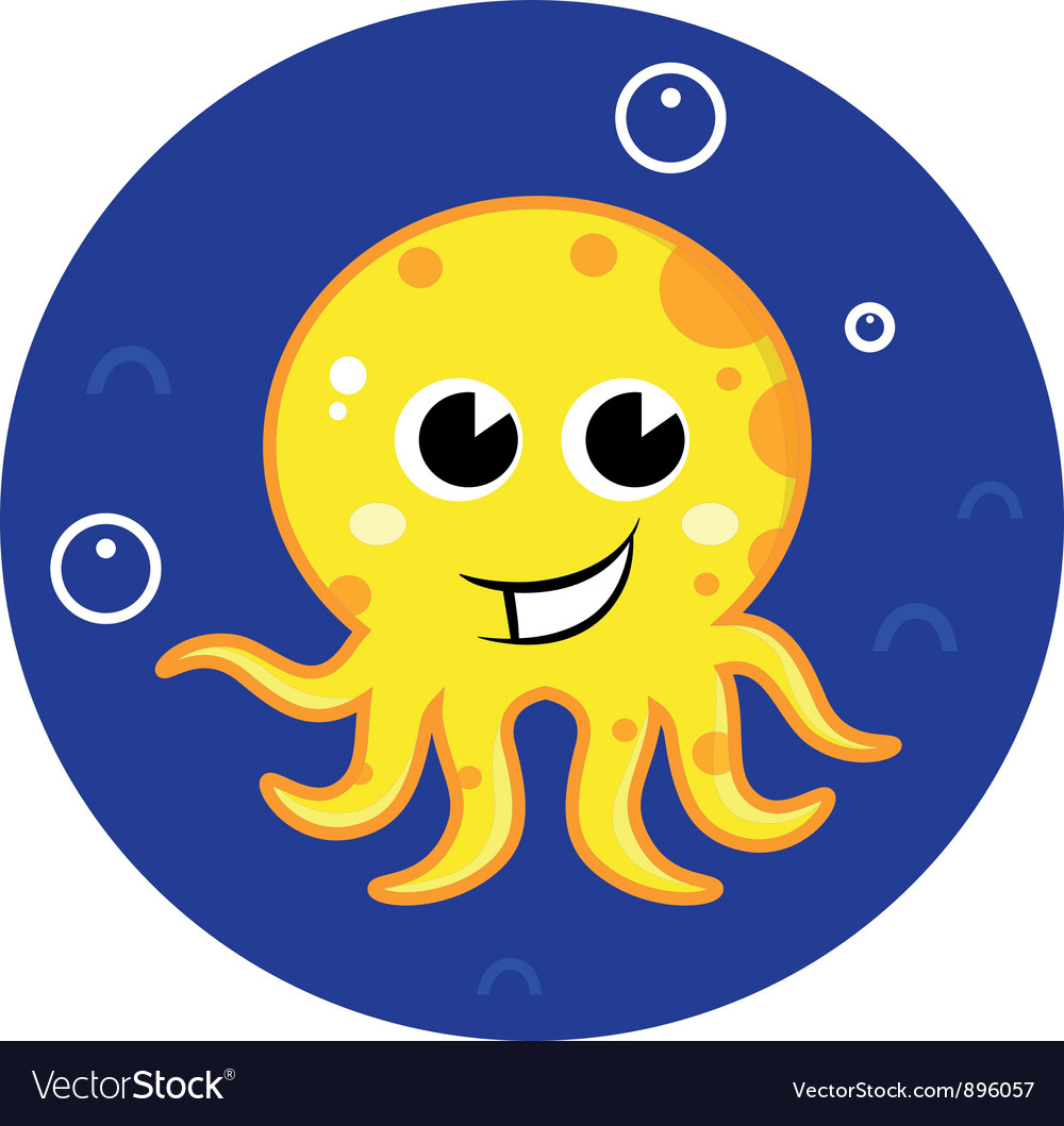 Yellow cartoon octopus in sea water vector | Price: 1 Credit (USD $1)
