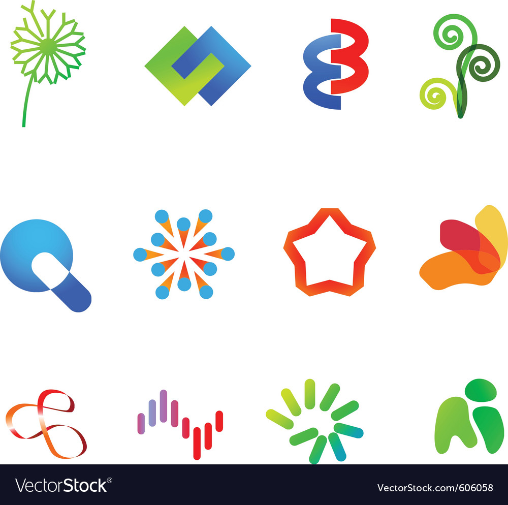 12 colorful symbols set 23 vector | Price: 1 Credit (USD $1)