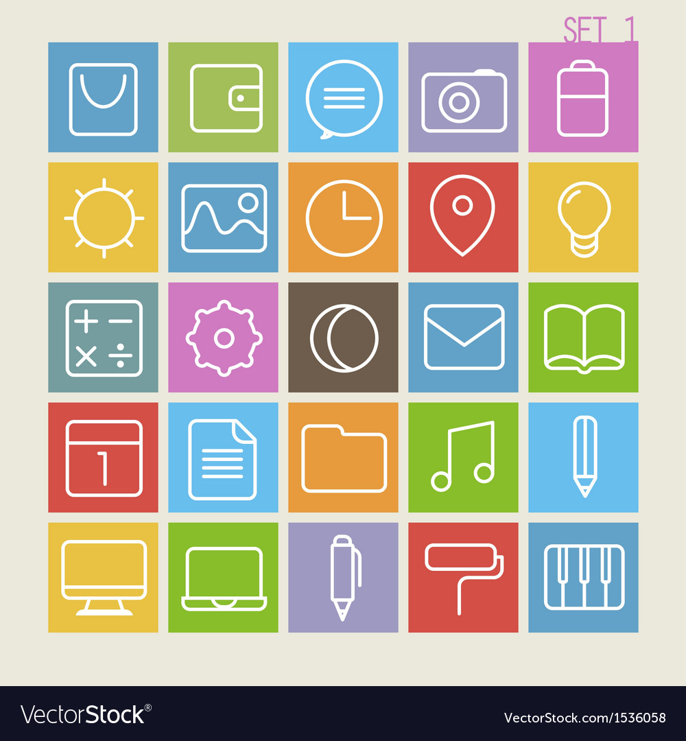 25 trendy thin icons set 1 vector | Price: 1 Credit (USD $1)