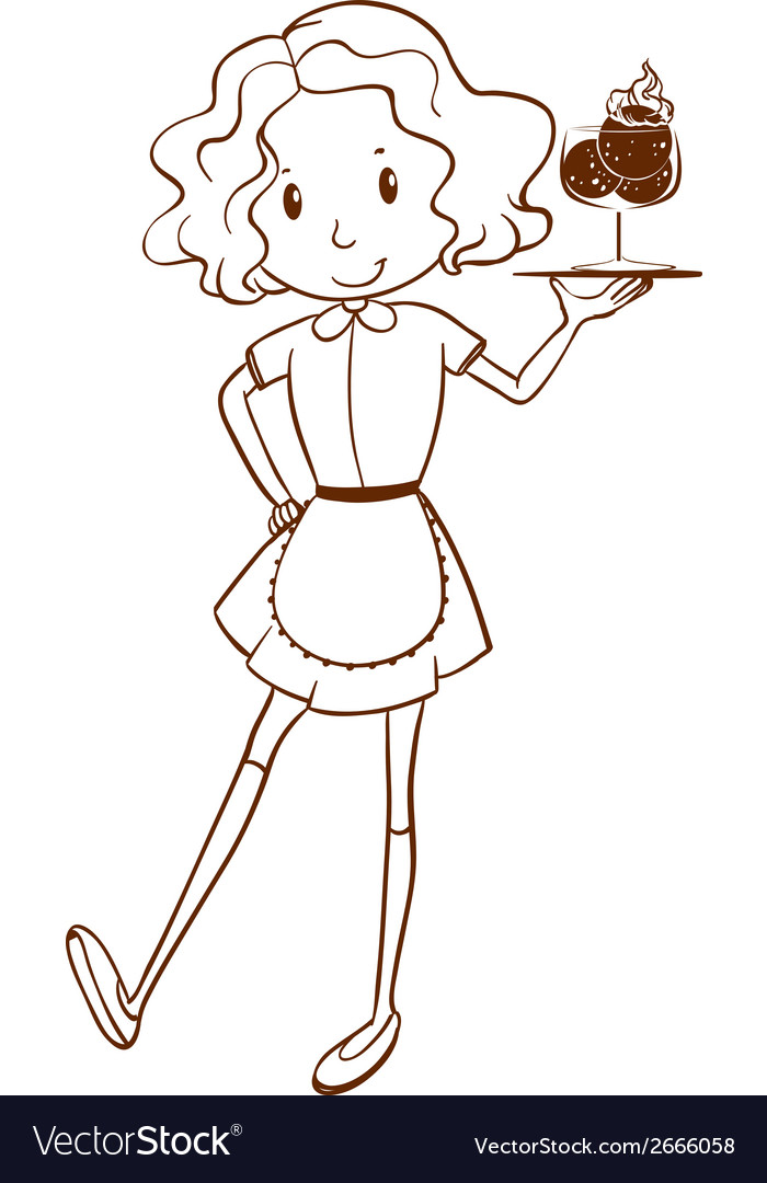 A simple sketch of a waitress vector | Price: 1 Credit (USD $1)