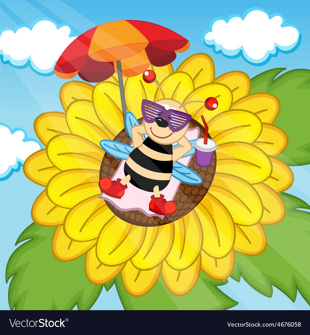 Bee sunbathing on sunflower vector | Price: 1 Credit (USD $1)