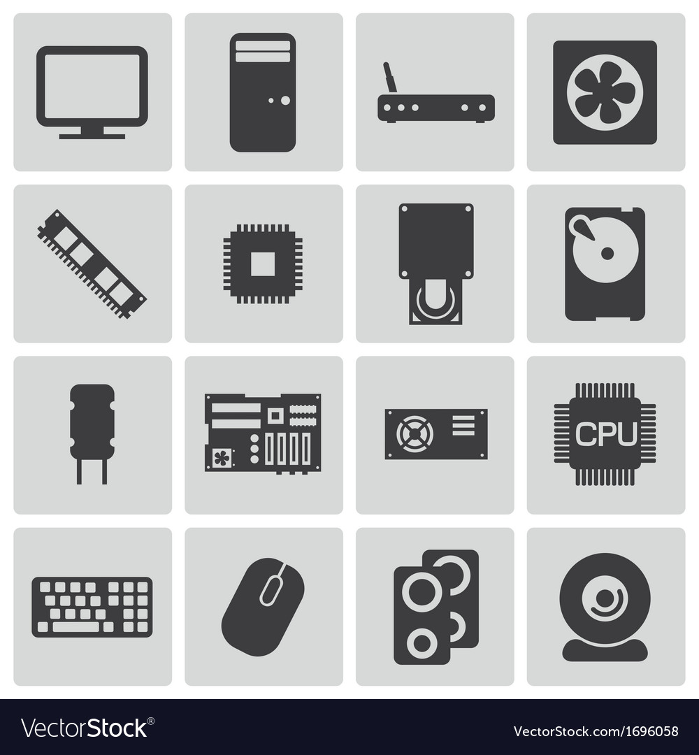 Black pc components icons set vector | Price: 1 Credit (USD $1)