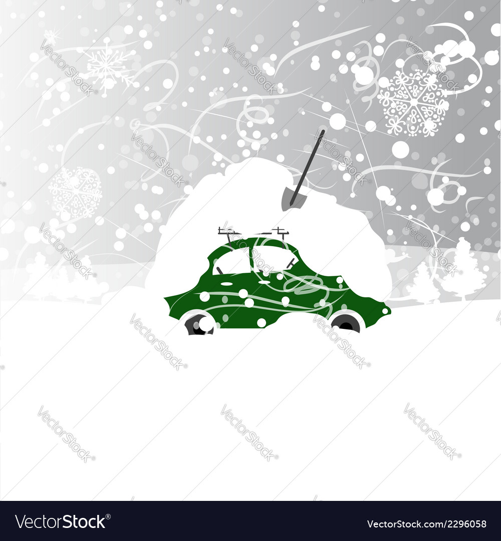 Car with snowbank on roof winter blizzard vector | Price: 1 Credit (USD $1)