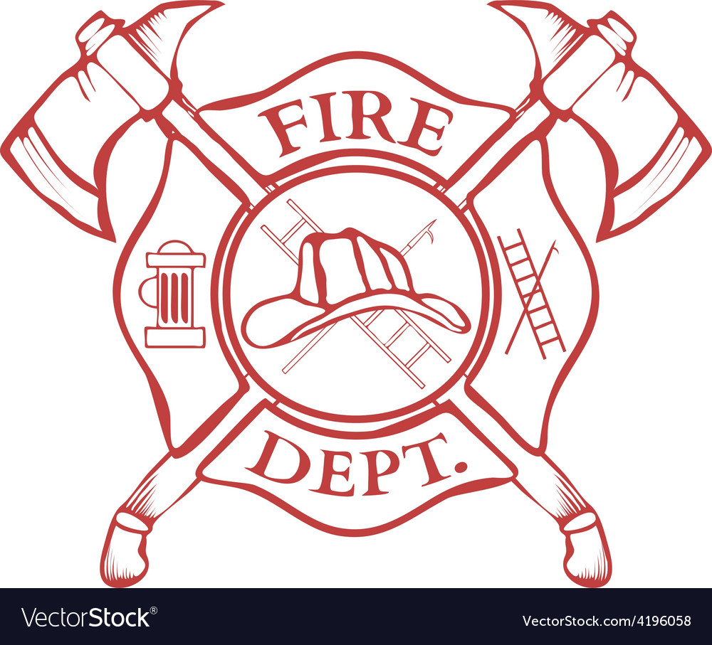 Fire dept label helmet with crossed axes vector | Price: 1 Credit (USD $1)
