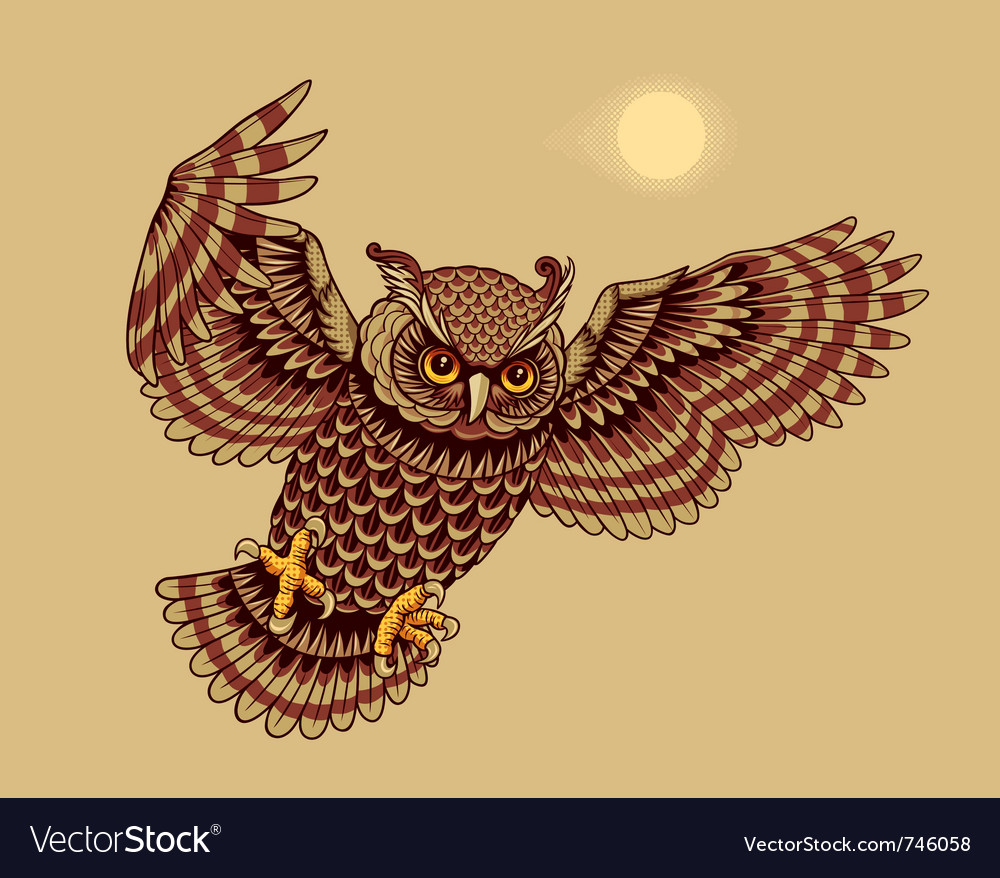 Flying owl bird vector | Price: 1 Credit (USD $1)