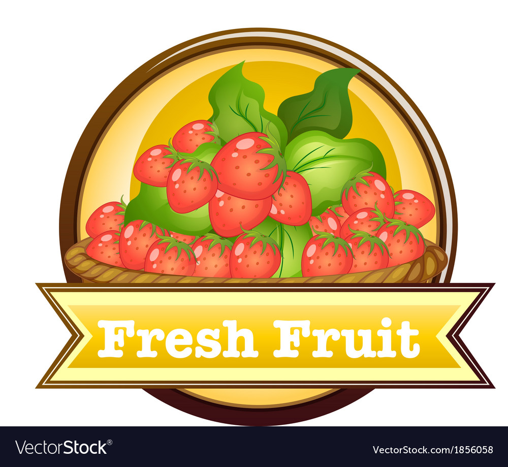 Fresh fruit label vector | Price: 1 Credit (USD $1)