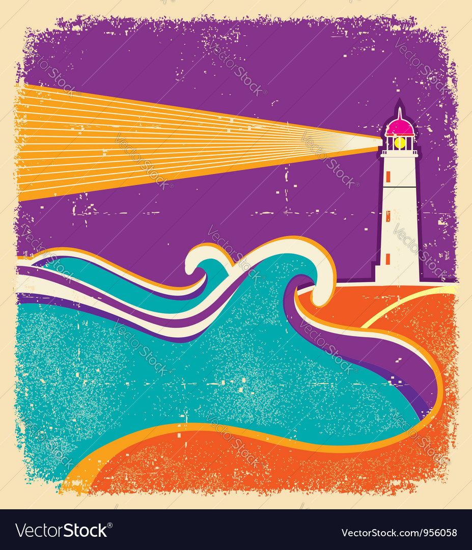 Lighthouse and sea waves abstract seascape poster vector | Price: 1 Credit (USD $1)