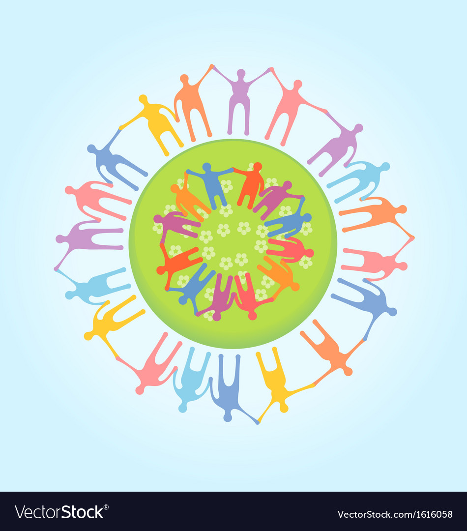 People around the world holding hands unity vector | Price: 1 Credit (USD $1)