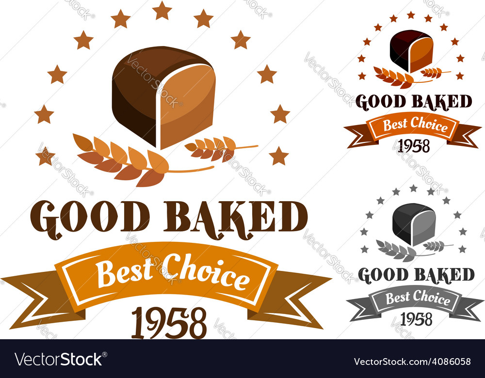 Rye bread banner or label vector | Price: 1 Credit (USD $1)