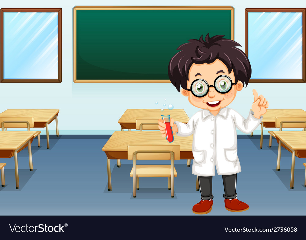 Scientist in classroom vector | Price: 1 Credit (USD $1)